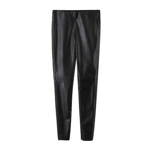 Stylish Narrow Feet PU Leather Black Women's Pants - Black L