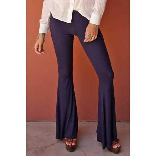 Stylish Solid Color Flare Women's Pants - Deep Purple L