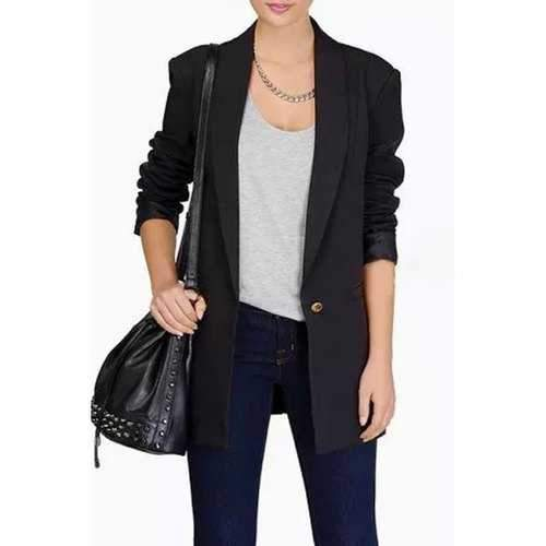 Trendy Shawl Neck Long Sleeve One Button Women's Blazer - Black L