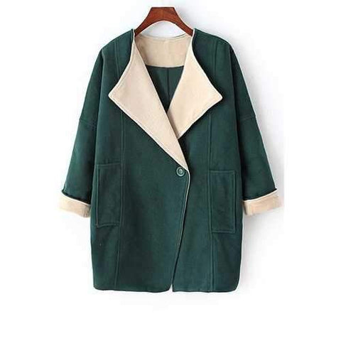Stylish Turn-Down Collar Long Sleeves Pure Color Big Pocket Women's Coat - Green M