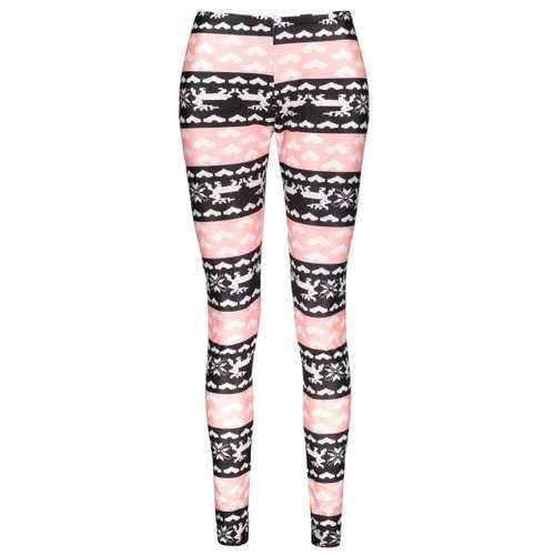 Fashionable High Waist Color Block Heart Printed Bodycon Leggings For Women - S