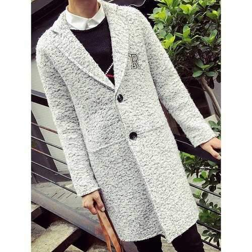 Turn-Down Collar Letter Print Long Sleeve Single Breasted Lengthen Men's Woolen Coat - White L