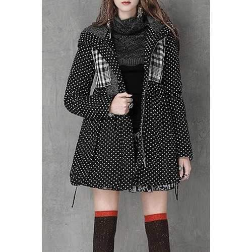 Stylish Hooded Long Sleeve Polka Dot High-Waisted Women's Parka Coat - Black S