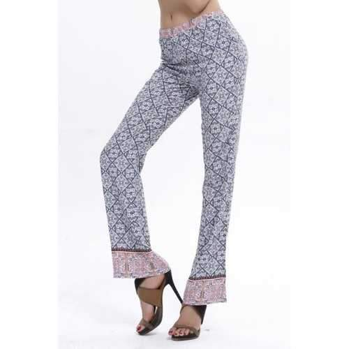 Stylish Elastic Waist Retro Print Flare Women's Pants - Light Gray L