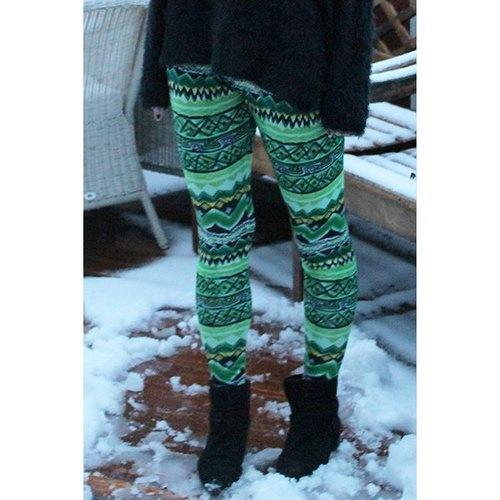 Stylish Elastic Waist Skinny Printed Colored Women's Leggings - Green One Size(fit Size Xs To M)