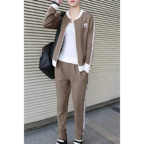 Active Stand Collar Long Sleeve Patch Design Hoodie and Striped Pants Suit For Women - Light Brown Xl