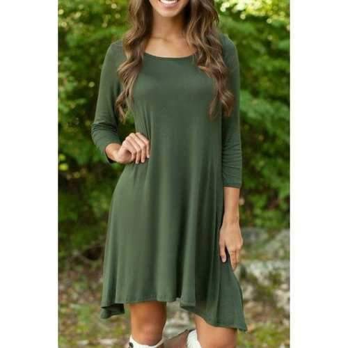 Casual Round Neck 3/4 Sleeve Irregular Hem Green Women's Dress - Army Green S