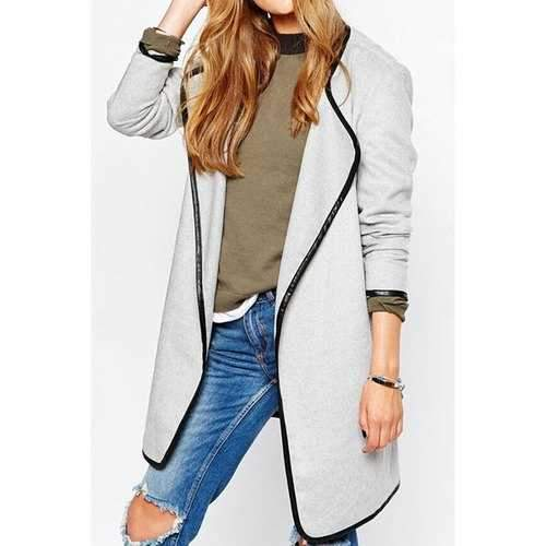 Stylish Turn Down Neck Long Sleeve Color Block Women's Coat - White L