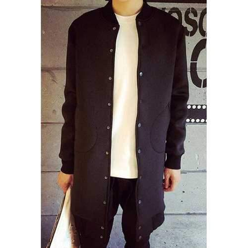Stand Collar Solid Color Long Sleeve Buttons Lengthen Men's Jacket - Black Xl