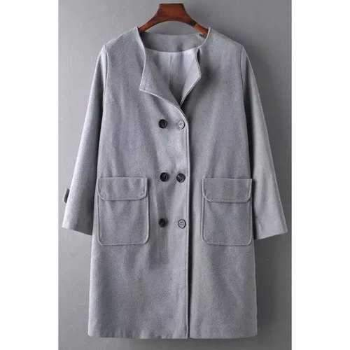 Stylish Long Sleeve Gray Double-Breasted Women's Coat - Gray M