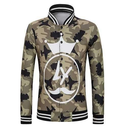 Slimming Stand Collar Cartoon Crown Print Striped Rib Spliced Long Sleeves Men's Camo Jacket - Camouflage 2xl