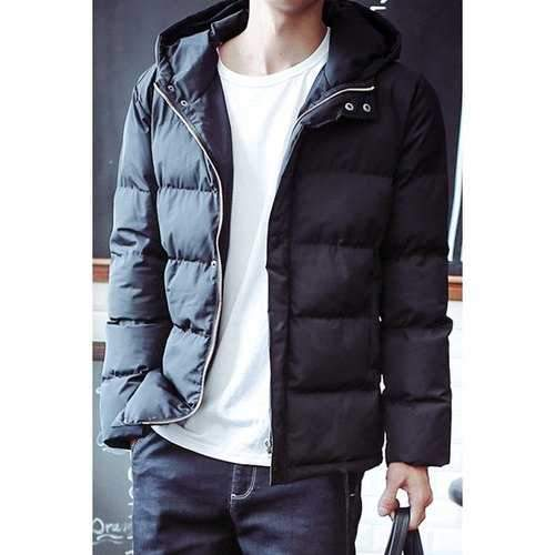 Slimming Hooded Letter Pattern Long Sleeve Men's Cotton Blends Coat - Black L