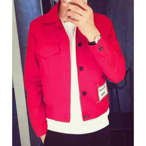 Turn-Down Collar Letter Appliques Long Sleeve Pockets Men's Jacket - Red L
