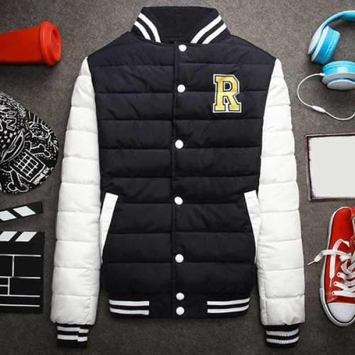 Stripe Rib Stand Collar Letter Print Long Sleeve Cotton-Padded Men's Baseball Jacket - Black L