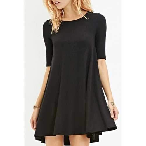 Stylish Jewel Neck Half Sleeve Solid Color Women's Dress - Black Xl