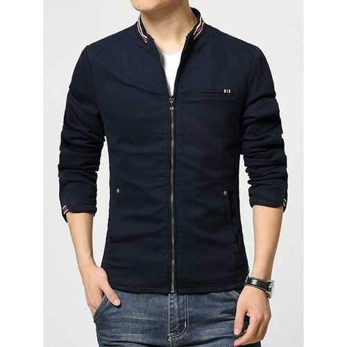 Color Block Striped Braid Spliced Patch Pocket Slimming Stand Collar Long Sleeves Men's Jacket - Blue 2xl
