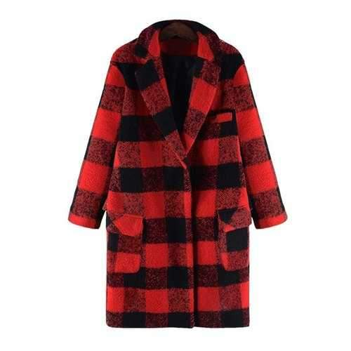 Stylish Turn-Down Collar Long Sleeves Checked Women's Woolen Coat - Red 5xl