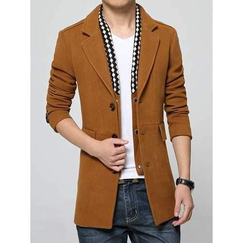 Detachable Scarf Embellished Flap Pocket Multi-Button Lapel Long Sleeves Men's Woolen Blend Coat - Camel Xl