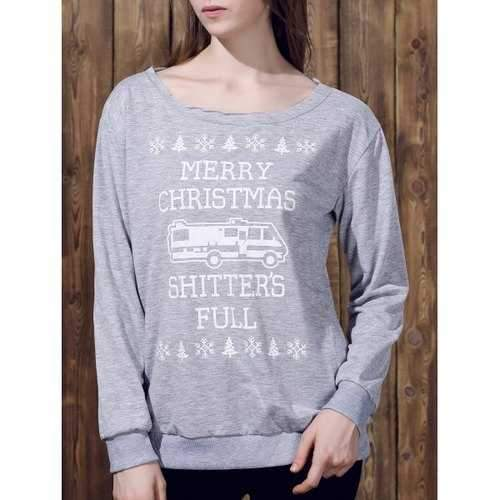 Fashionable Skew Neck Long Sleeve Letter Pattern Christmas Sweatshirt For Women - Gray S