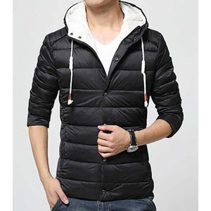 Casual Drawstring Hooded Letters Print Solid Color Long Sleeves Men's Down Coat - Black Xl