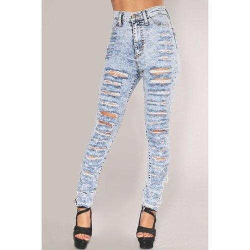Stylish High-Waisted Skinny Ripped Women's Jeans - Light Blue S