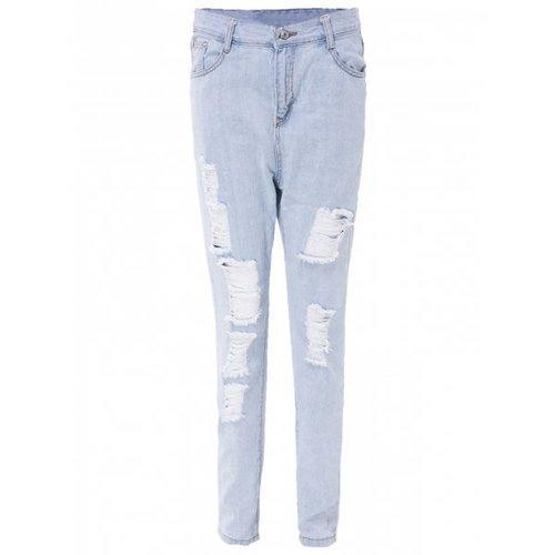 High Waisted Distressed Skinny Jeans - Light Blue L
