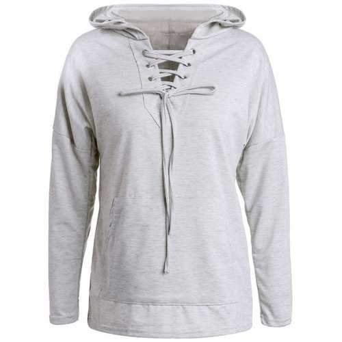 Stylish Long Sleeve Gray Women's Pullover Hoodie - Gray S