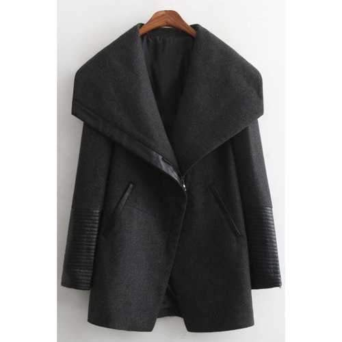 Stylish Large Lapel Long Sleeve PU Spliced Women's Thick Coat - Black L