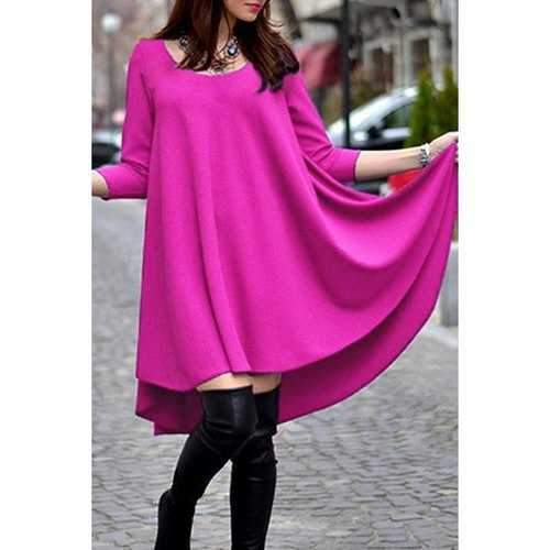 Trendy Scoop Neck 3/4 Sleeve Solid Color Women's Dovetail Dress - Rose S