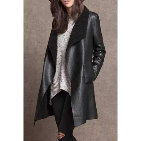 Fashionable Turn-Down Collar Long Sleeves PU Leather Woolen Liner Women's Coat - Black L