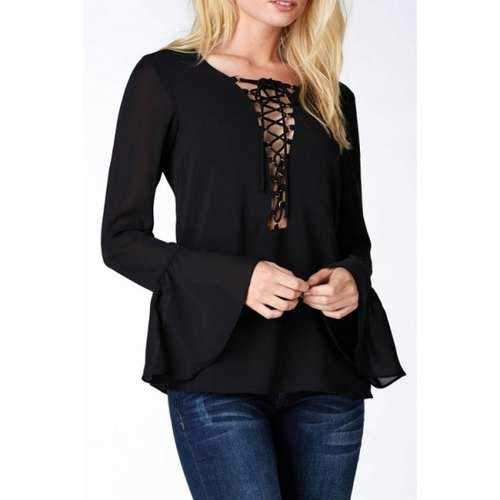 Trendy Deep V Neck Long Bell Sleeve Solid Color Women's Chiffon Blouse - Black Xl