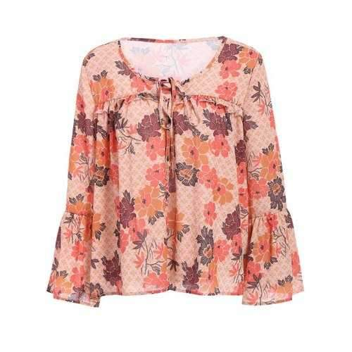 Stylish Women's Bell Sleeve Floral Print Loose Blouse - M