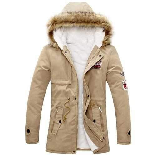 Slim Fit Long Sleeve Zipper Emblem Decorated Fur Collar Hooded Parka Coat For Men - Khaki M