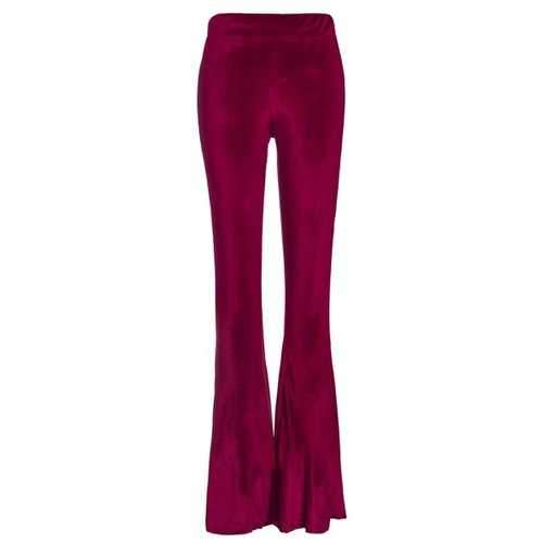 Stylish Wine Red Women's Velvet Pants - Wine Red Xl