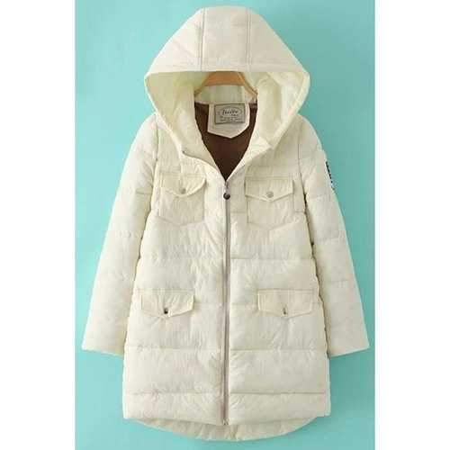 Trendy Hooded Long Sleeve Pockets Design Appliqued Women's Quilted Coat - Off-white L