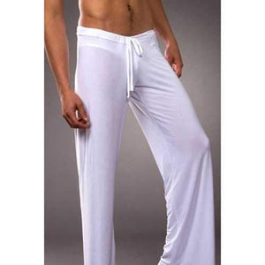 Imitated Silk Solid Color Lace-Up Men's Homewear Pants - White L