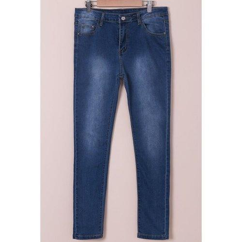 High-Waisted Tapered Jeans - Blue M