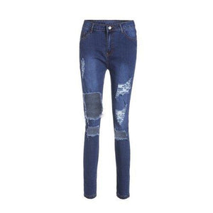 High Waisted Cut Out Frayed Knee Jeans - Blue Xl