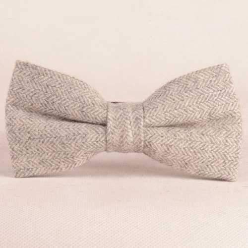 Stylish Double-Deck Herringbone Bow Tie For Men - Light Gray