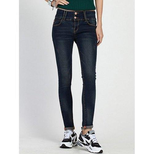 High Waist Skinny Cuffed Jeans - Deep Blue L