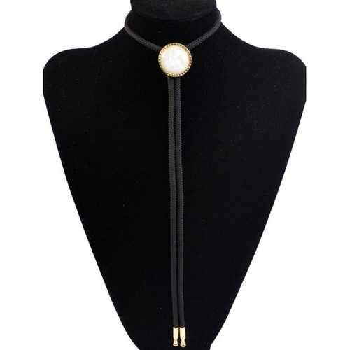 Stylish Round Resin Inlay Bolo Tie Necklace - Black