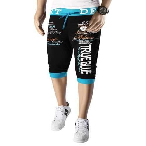 Lace-Up Personality Letters Pattern Rib Spliced Hit Color Beam Feet Capri Pants For Men - Blue And Black Xl