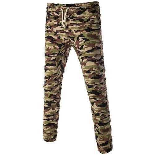 Casual Camo Lace Up Pants For Men - Green M