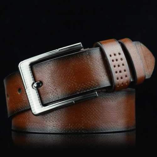 Stylish Pin Buckle Plaid Embossed PU Wide Belt For Men - Brown