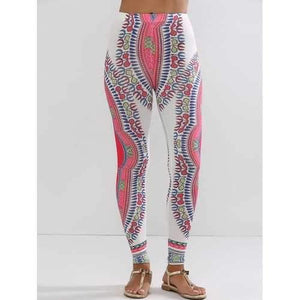 Ethnic High Waisted Workout Leggings - White L