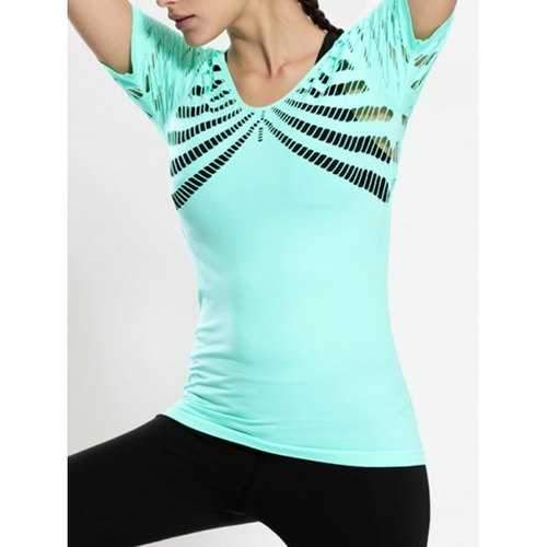Hollow Out Long Workout Gym Top - Mint Green S