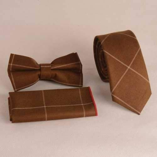 Casual Chessboard Gingham Pattern Tie Pocket Square Bow Tie - Brown