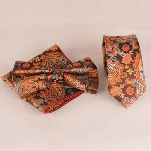 Ancient Paisley Jacquard Neck Tie Set - Orange