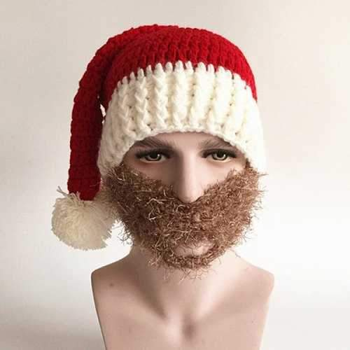 Christmas Knitted Faux Beard Face Hat - Red