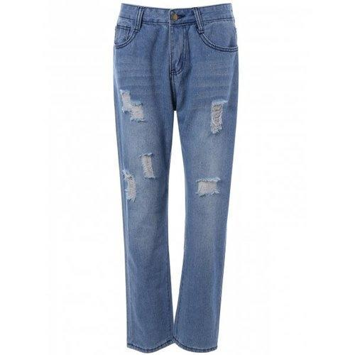 Pocket Design Distressed Jeans - Denim Blue S